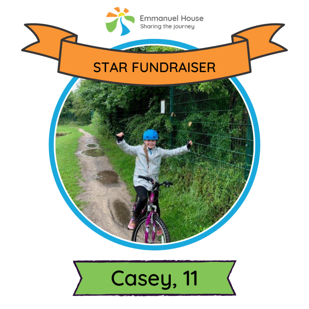 11-year-old Casey raises over £800 for Emmanuel House in charity bike ride